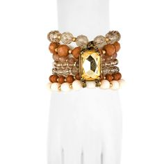 Little Black Bag | Pink/Gold/Topaz Multi Row Stretch Bracelet by Lydell NYC