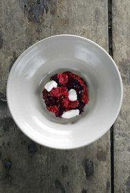 (SERVES 6) 1 gelatin leaf 100 grams (approx. 1/2 cup) unfrozen juice made from wild raspberries 1 large, top-quality beetroot A dash of raspberry vinegar Birch-leaf oil, for seasoning 6 spoons good, thick yogurt at room temperature 100 grams ice (approx. 1/2 cup) made from wild raspberries Salt