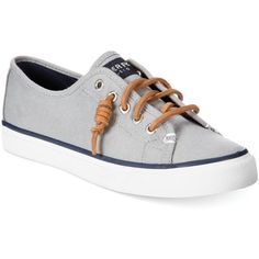Sperry Women's Seacoast Canvas Sneakers ($60) ❤ liked on Polyvore featuring shoes, sneakers, charcoal burnished, charcoal shoes, canvas sneakers, sperry top-sider, preppy shoes and plimsoll shoes