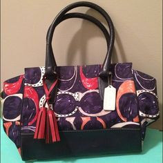 "Authentic Coach Legacy Bag Authentic Coach Legacy Bag. Navy with red and white signature C print. Beige lined. Excellent outer condition. Used inner condition with smudges and pen marks. 11.4"" length 3.9 depth Coach Bags Shoulder Bags"