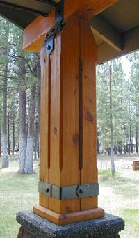Forged Post & Beam Accents are an excellent way to show off as well as reinforce large structural timbers. Pergola, Timber Frame Homes, Timber Frames, Timber Structure, Wood Joints, Post And Beam, Wood Beams, Wood Construction, Log Homes