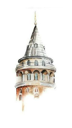 Image in Admin's images album Art And Illustration, Art Sketches, Art Drawings, Building Drawing, Watercolor Architecture, Vw Vintage, Guache, Urban Sketching, Islamic Art