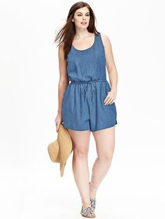 Women's Plus Chambray Rompers
