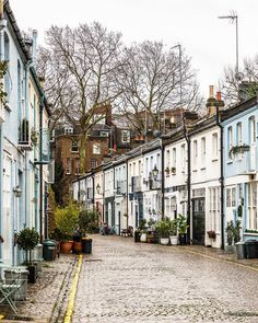 Lovely colorful houses in Cranley Mews in South Kensington, London