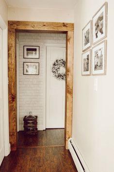 Doorway casing with With Wood Beam Look — Jessica Diana Schlichtman Wood Door Frame, Wood Doors, Wood Interior Doors, Door Frames, Rustic Doors, Wood Baseboard, Baseboards, Faux Beams, Door Casing