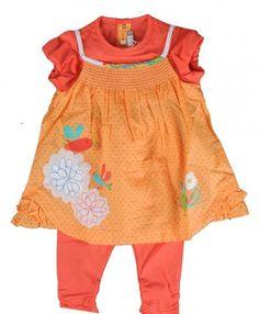 6796 Catimini Couleur Apricot Dress & Leggings Set