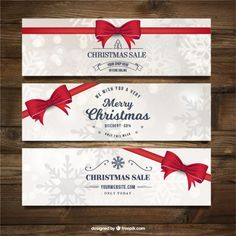 Merry christmas banners with red ribbons and snowflakes Free Vector