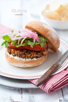 Quinoa Veggie Burgers with Pickled Red Onions and Goat Cheese from www.loveandoliveoil.com
