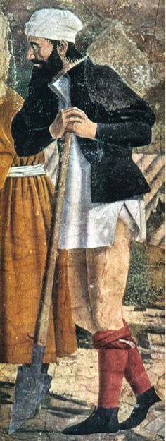 """""""The Story of the True Cross, detail"""" by Piero della Francesca  Italian  c. 1455 15th century  A workingman in unlaced hose rolled to the knees. Wearing undergarment, a chemise."""