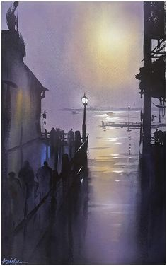 """""""Composition in Violet"""" Thomas W Schaller Watercolor 24x16 Inches 24 May 2015"""