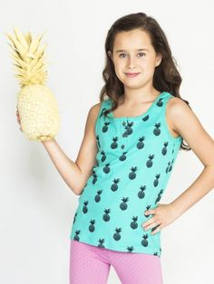 Organic Girls Hera Henley Tank - Lagoon / Navy Pineapple Print