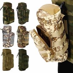 Outdoor Tactical Military Molle Zipper Water Bottle Bag Kettle Pouch for Sport Travel Camping Hiking Bicycle Nylon Water Bags