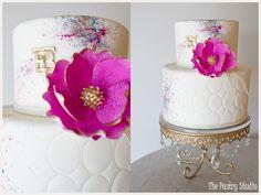 Art-Deco Paint Splattered Cake Design by The Pastry Studio: Daytona Beach, Fl