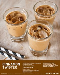 Refresh your autumn taste buds with a cinnamon twister. This shot can be served over ice or straight up.® Cinnamon Schnapps, Coffee Liqueur and Irish Cream with some half & half. Cocktails, Cocktail Recipes, Alcoholic Drinks, Martinis, Bar Drinks, Yummy Drinks, Yummy Food, Refreshing Drinks, Healthy Drinks