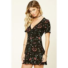 Forever 21 Women's  Floral Print Mini Dress (78 PEN) ❤ liked on Polyvore featuring dresses, floral print dress, botanical dress, floral dresses, floral mini dress and short dresses