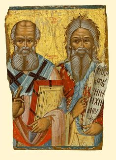 Saint Athanasios and Prophet Elijah - exhibited at the Temple Gallery, specialists in Russian icons