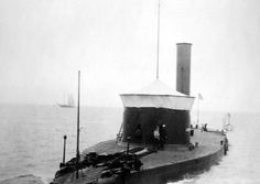 """USS Canonicus. Although built later, the design of the Canonicus class was mean to be the improved, oceangoing """"Production Version"""" of USS Monitor. Canonicus served in the US Navy  until 1913. There are films of her in a Naval Parade in 1907 - making her the only Civil War era ironclad filmed underway."""