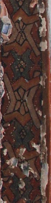 Ellora schilderingen. Detail van een rand van het plafond.