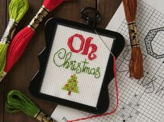 Super cute Oh Christmas free cross stitch pattern printable download - cute gift tag or ornament idea!
