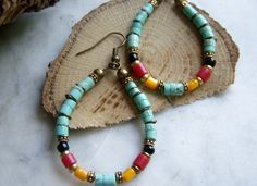 Turquoise Hoop Earrings Horn Mother of Pearl by gypsysgrace