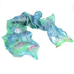 Cobweb Felt Scarf Wool Scarf Green Scarf Spring by Fibernique, $50.00