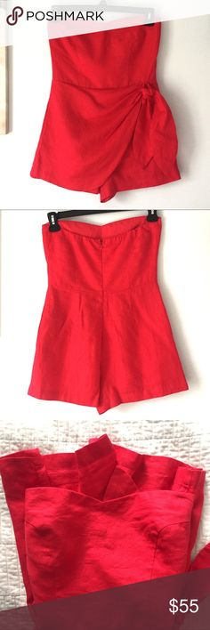 Red 100% Linen Sweetheart Neck Sleeveless Romper Amazing linen romper! Condition like new one! Color exactly like on the photo! Zip closure on the back. Day - to - night style! Very sexy! 😍😍😍 J. Crew Pants Jumpsuits & Rompers