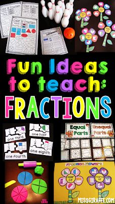 So many hands on fractions activities and ideas! I love these fractions centers to practice halves and fourths, equal parts and unequal parts, partitioning shapes, and so much more - perfect for first grade or introducing fractions to any age! 3rd Grade Fractions, Teaching Fractions, Second Grade Math, Math Fractions, First Grade Math, Teaching Math, Teaching Ideas, Dividing Fractions, Equivalent Fractions