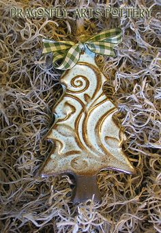 Holiday Tree Ornament 1  Vine & Leaf design  Pottery