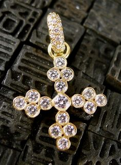 f53f8083f4 Erica Courtney 18K Yellow Gold and Diamond Cross Charm Pendant for Earrings  Cross Jewelry, Charm