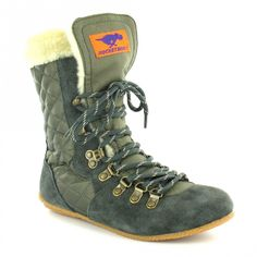 9dd06bccf4e Rocket Dog Climber Womens Suede Leather and Nylon Flat 7-Eyelet Ankle Boots  - Shadow Grey