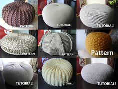 4 Knitted Crochet Pouf Floor cushion Patterns by isWoolish,Name: 'Knitting : 4 KnittedYou will get 4 PDF files Pouf Patterns and 1 Pouf Tutorial) ! Knitted Brown Pouf There are two sizes: A. Size: 40 cm x 20 cm / inchDIY Patterns & Tutorials in Craft Supp Pouf En Crochet, Knitted Pouf, Crochet Diy, Crochet Cushions, Crochet Hats, Floor Pouf, Floor Cushions, Knitting Projects, Crochet Projects