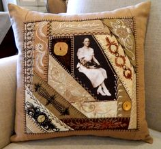 note pic cut to an interesting shape I ❤ crazy quilting & embroidery . . . 1922 Birthday Pillow 2 ~By Brian Haggard