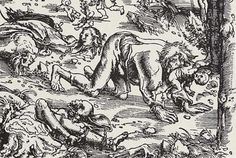 Woodcut of a werewolf attack