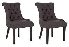 "Charcoal Poppy Armchairs, Pair on OneKingsLane.com 22""W x 26""D x 37""H"