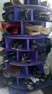 Shoe Carousel---got the idea here, but made this one from wire spools that an electrical supply company gave me. Electrical Spools, Electrical Supplies, Wire Spool, Wooden Spools, Shoe Rack On Wheels, Shoe Carousel, Shelf Dividers, Getting Organized, My Room