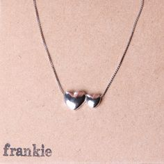 """Sterling silver cube chain with double heart pendent 15.5"""" to 17"""" from frankie925silver. UK FREE DELIVERY by frankie925silver on Etsy"""