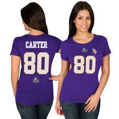 Women's Majestic Cris Carter Purple Minnesota Vikings Hall of Fame Fair Catch V T-Shirt