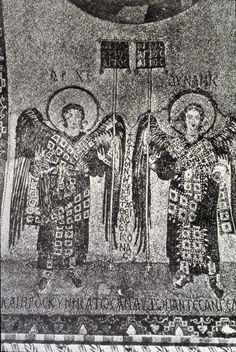 Two angels with labarum and orbs  Mosaic  8-9th century CE  From the church of the Koimesis/Dormition at Iznik (Nicaea), Turkey.  Church destroyed in 1922