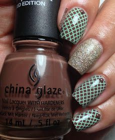 Colores de Carol: Mint and Brown Stamping Nail Art
