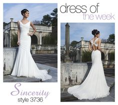 Dress of the Week: 3736 Sultry style 3736 is our pick for Dress Of The Week! Do you know why brides fall in love with this lovely dress? Is it the draped chiffon cowl neckline? The romantic mermaid silhouette? The irresistible lace criss-cross back? Or