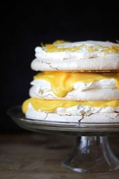 DISH | Vanilla Bean Pavlova with Lemon Curd + Mascarpone. Best.Dessert.Ever. -