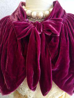 1970s vintage antique rose silk velvet capelet bolero jacket by mermaid miss k