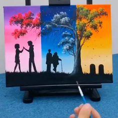 Easy Canvas Painting, Easy Paintings, Diy Painting, Painting & Drawing, Canvas Art, Decorative Paintings, Beautiful Paintings, Painting Videos, Watercolour Painting Easy