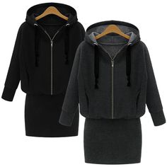 This  dress in fashion European style with hooded design, zipper-up style, solid color, slim package hip hem and long sleeves. It is soft and comfortable to wear. It can show your personality perfectly. It is a perfect option for you, act now.  Features: * Fashion European style * Solid color...