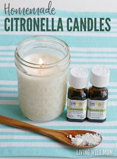 How to Make Easy Homemade Citronella Candles Mosquitoes bugging you? Here's how to make your very own homemade citronella candles with essential oils! These candles do a great job at keeping the pesky bugs away… Diy Candles Scented, Citronella Candles, Aromatherapy Candles, Homemade Candles, Soy Candles, Candle Jars, Candle Maker, Candle Molds, Essential Oil Candles