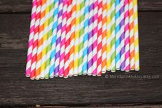 RAINBOW STRIPES Paper Straws Multipack Blue by MoreSprinkledJoy, $3.99