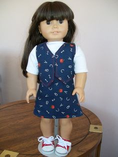 American Girl 18 Inch Denim, Three-Piece School Outfit with Red Tennis Shoes