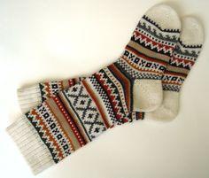 Scandinavian pattern rustic autumn fall winter knit knee-high wool socks Christmas gift CUSTOM MADE