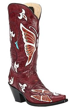 Corral Ladies Red w/ Multi Color Butterfly & Flowers Inlay Snip Toe Western Boot