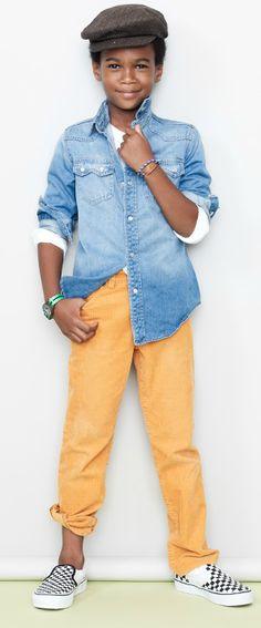 denim top and yellow pants